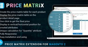 Magento 2 price matrix extension